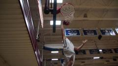 Slow Motion Low Angle Basketball Dunk Stock Footage