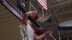 Stock Video Footage of Slow Motion Backwards Basketball Dunk