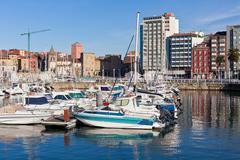 view on old port of gijon and yachts, asturias, northern spain - stock photo