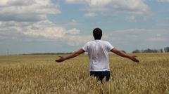Farmer thanks to God for the harvest Stock Footage