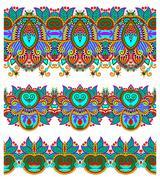 seamless ethnic floral paisley stripe pattern, border set, ukrai - stock illustration