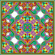 Stock Illustration of silk neck scarf or kerchief square pattern design in ukrainian k