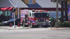 Fire Truck In Day Light At Scene Of Car Crash 01 4K Stock Footage
