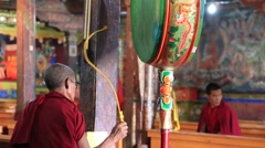 Tibetan monks singing prayers in traditional dress in Monastery. Ladakh, India Stock Footage