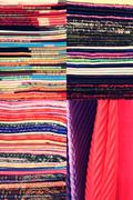 Stack of colorful fabric. Set of vertical images Stock Photos