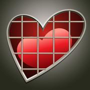 heart in jail - stock illustration