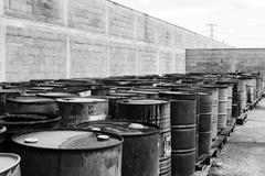 Stock Photo of Several barrels of toxic