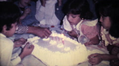 Little Girl Blowing Out Birthday Candles-1978 Vintage 8mm film Stock Footage