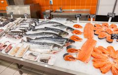 raw fish ready for sale in the supermarket - stock photo