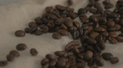 Roasted coffee beans. Falling coffee beans Stock Footage