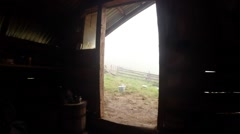 view from inside the house of the shepherds on the way out - stock footage