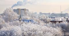 Winter cityscape. Frosty December. Stock Photos