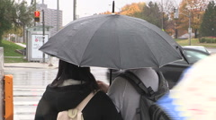 Cold rainy day in the city of Toronto Stock Footage