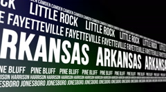Arkansas State and Major Cities Scrolling Banner Stock Footage