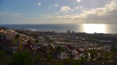 Establishing shot. Tenerife, Canary, Playa de las Americas, time-lapse. Stock Footage