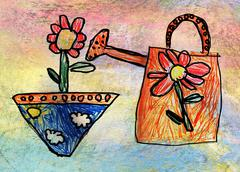 Children's drawing of watering-can with flower Stock Illustration