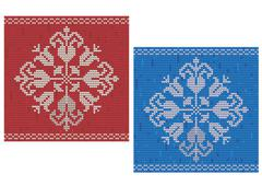 Detailed floral border cross stitch pattern Stock Illustration