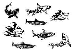 Set of fierce shark icons Stock Illustration