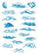 Set of blue breaking ocean waves Piirros