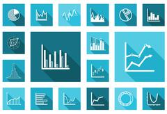 flat charts and graphs set - stock illustration