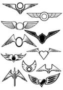 Set of wings icons Stock Illustration