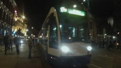 Amsterdam tram at night. Stock Footage
