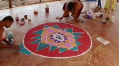 Monks painting with sand mandala. India. Stock Footage