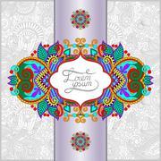 unusual floral ornamental template - stock illustration