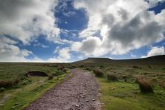 beautiful landscape of brecon beacons national park with moody sky - stock photo