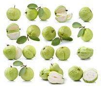 guava fruit isolated on white background - stock photo