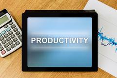 Productivity word on digital tablet Stock Photos