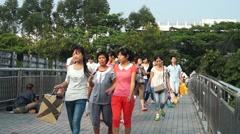 Shenzhen, China: pedestrian bridge Stock Footage