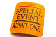 special event ticket closeup, isolated on white - stock photo