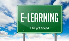 Stock Illustration of E-Learning on Highway Signpost.