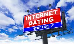Internet Dating on Red Billboard. Stock Illustration