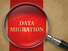 Data Migration through Magnifying Glass. Stock Illustration