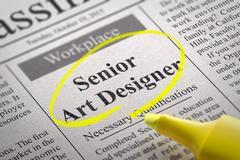Senior Art Designer Vacancy in Newspaper. Stock Illustration