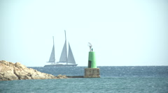 Luxury sailing yacht navigating  Stock Footage