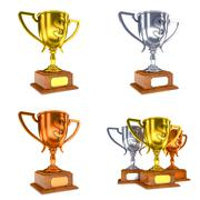 Contest Concepts - Colorful Trophy Cups of 3D Illustrations. Stock Illustration