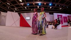 Super models Haute Couture catwalk high fashion runway Fashion Week time lapse Stock Footage