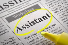 Stock Illustration of Assistant Jobs in Newspaper.