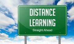 Distance Learning on Highway Signpost. - stock illustration