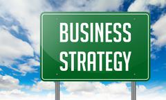 Business Strategy on Highway Signpost. Piirros