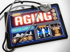 Aging on the Display of Medical Tablet. - stock illustration