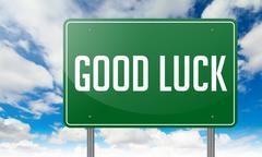 Good Luck on Highway Signpost. Stock Illustration