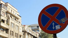 No Parking Sign, Traffic, Town, Sunny Day, Urban Setting, Pan Stock Footage