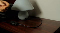 Hand Turning On A Nightstand Lamp, Bedroom, Lamp, Switch Stock Footage