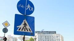 Pedestrian Crossing Sign, Traffic, Street Sign, Urban Setting Stock Footage