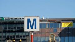 Subway Station Sign, Traffic, Street Sign, Urban Setting Stock Footage