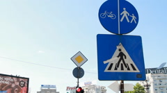 Pedestrian Crossing Sign, Traffic, Street Sign, Urban Setting, Pan Stock Footage